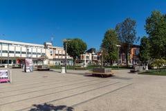 PIROT, SÉRVIA -16 ABRIL DE 2016: Centro da cidade de Pirot, Sérvia Fotografia de Stock Royalty Free