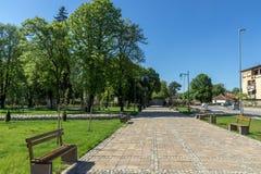 PIROT, SÉRVIA -16 ABRIL DE 2016: Centro da cidade de Pirot, Sérvia Fotos de Stock