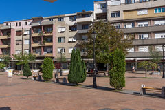 PIROT, SERVIË -16 APRIL 2016: Centrum van stad van Pirot, Servië Royalty-vrije Stock Foto's