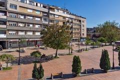 PIROT, SERVIË -16 APRIL 2016: Centrum van stad van Pirot, Servië Stock Afbeelding