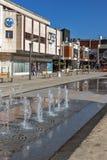 PIROT, SERVIË -16 APRIL 2016: Centrum van stad van Pirot, Servië Stock Foto's