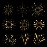 Pirotechniczne kreskowe ikony Fajerwerki i świętowania słońca wybuchu Retro kształty Rocznika starburst logo, etykietki, odznaki  Obraz Stock