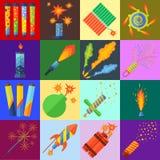 Pirotecnica e vettore dei fuochi d'artificio Immagini Stock Libere da Diritti