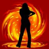 Pirouette de fille et d'incendie Photographie stock libre de droits