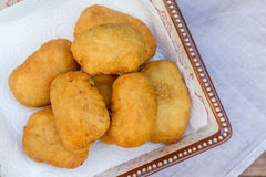 Pirozhki, russian traditional food, Meat patties in the plate, v Royalty Free Stock Photos