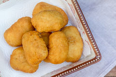 Pirozhki, russian traditional food, Meat patties in the plate Royalty Free Stock Images