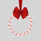 Piruleta roja dulce del azúcar de la Navidad con la cinta realista roja en un fondo transparente Bandera redonda Regalo dulce Imagenes de archivo