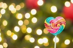 Piruletas coloridas del corazón Imagen de archivo