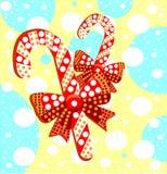 Piruletas con los arcos del regalo Caramelos rayados hermosos del caramelo con stock de ilustración