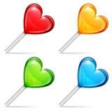 Piruletas del corazón Imágenes de archivo libres de regalías