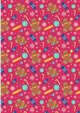 Piruletas Gingerman del caramelo de la Navidad en fondo rosado Imagen de archivo