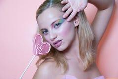 Pirulito da composição e do coração do arco-íris Foto de Stock Royalty Free