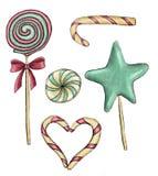 Pirulito dos doces da aquarela dos doces do Natal imagem de stock