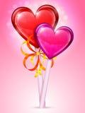 Pirulitos do coração Fotografia de Stock