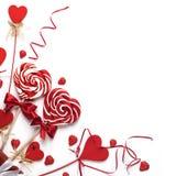 Pirulitos do coração no branco Imagem de Stock