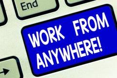 Pisać nutowej seans pracie Od Gdziekolwiek Biznesowy fotografii pokazywać samozatrudniający się i najęty pracować dla różnego zdjęcie stock