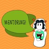 Pisać nutowym pokazuje obowiązki mentora Biznesowa fotografia pokazuje dawać rada lub poparciu młody mniej doświadczony ilustracja wektor