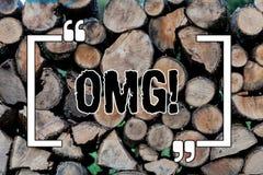 Pisać nutowym pokazuje Omg Biznesowa fotografia pokazuje mój dobrego skrótu zdziwienia Nowożytnego wyrażenie Drewnianego Oh zdjęcie stock