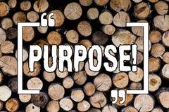 Pisać nutowym pokazuje Purpose Biznesowa fotografia pokazuje powód dla robić coś Pragnący Bramkowy cel Planował osiągnięcie Drewn zdjęcia royalty free