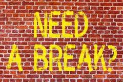 Pisać nutowym seansie Potrzebuje Breakquestion Biznesowa fotografia pokazuje wakacje Potrzebującego rozdzielenie Chcieć rozłam Re zdjęcia stock