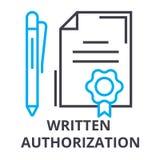 Pisać autoryzacja cienka kreskowa ikona, znak, symbol, illustation, liniowy pojęcie, wektor royalty ilustracja