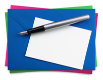 Pisać kartach z fontanny piórem zdjęcie stock