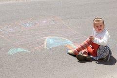 pisać kredą kolor dziewczyny trochę Zdjęcia Royalty Free