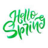 Pisać list - Cześć wiosna Słodka wiosny inspiracja, typografia Kaligrafia graficznego projekta element Ręcznie pisany znak Zdjęcia Stock