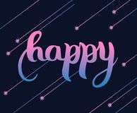 Pisać list Szczęśliwy Inskrypcja jest menchią, błękitem i purpurą na ciemnym tle, Przeciw tłu spada gwiazdy Wektor il ilustracji