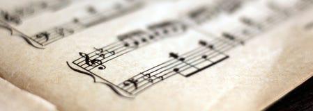 Pisać Muzyczna notacja, retro notatki fotografia stock