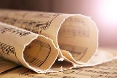 Pisać Muzyczna notacja, retro notatki fotografia royalty free