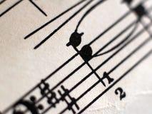 Pisać Muzyczna notacja, retro notatki w ten sposób zamyka zdjęcie stock