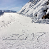 2017 pisać na śniegu Zdjęcie Stock