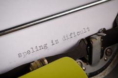 Pisać na maszynie tekst z pisownia błędami Obraz Stock