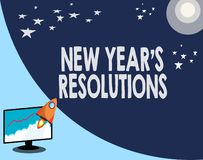 Pisać nutowego pokazuje nowego roku s jest postanowieniami Biznesowa fotografia pokazuje Wishlist listę rzeczy osiągać lub ilustracji