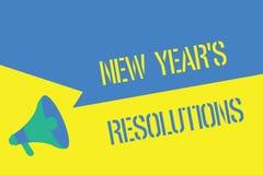 Pisać nutowego pokazuje nowego roku s jest postanowieniami Biznesowa fotografia pokazuje Wishlist listę rzeczy osiągać lub ilustracja wektor