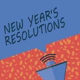 Pisać nutowego pokazuje nowego roku s jest postanowieniami Biznesowa fotografia pokazuje Wishlist listę rzeczy osiągać lub ulepsz ilustracja wektor