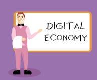 Pisać nutowej pokazuje Cyfrowej gospodarce Biznesowa fotografia pokazuje na całym świecie sieć działalność gospodarcza i technolo ilustracji