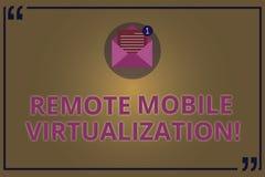 Pisać nutowej pokazuje Dalekiej Mobilnej wizualizacji Biznesowy fotografii pokazywać może daleko kontrolować Android wirtualnego royalty ilustracja