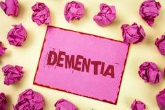 Pisać nutowej pokazuje demenci Biznesowa fotografia pokazuje Długookresowej pamięci straty znaka i objawy zrobiliśmy ja przechodz Zdjęcia Stock