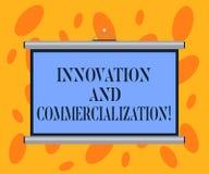 Pisać nutowej pokazuje innowacji I komercjalizacji Biznesowa fotografia pokazuje Przedstawiający nowego produkt w handlu przenośn obrazy stock