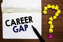 Pisać nutowej pokazuje karierze Gap Biznesowa fotografia pokazuje A scenę dokąd w tobie pracować twój zawodem Notebo chwilowo zat zdjęcia stock