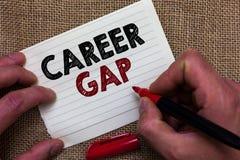 Pisać nutowej pokazuje karierze Gap Biznesowa fotografia pokazuje A scenę dokąd w tobie pracować twój zawodu mężczyzna chwilowo z zdjęcie royalty free