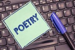 Pisać nutowej pokazuje poezi Biznesowa fotografia pokazuje dzieło literackie w którym wyrażenie uczucia i pomysłów używać fotografia royalty free