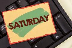 Pisać nutowej pokazuje Sobocie Biznesowa fotografia pokazuje Pierwszy dzień weekendowy Relaksujący czasu wakacje czasu wolnego mo Fotografia Stock