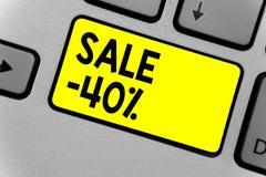 Pisać nutowej pokazuje sprzedaży 40 Biznesowa fotografia pokazuje A promo cenę rzecz przy 40 procentów markdown koloru żółtego kl ilustracja wektor
