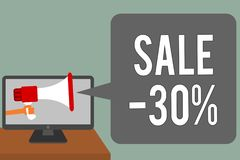 Pisać nutowej pokazuje sprzedaży 30 Biznesowa fotografia pokazuje A promo cenę rzecz przy 30 procentów markdown mężczyzna chwyta  ilustracja wektor