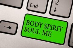 Pisać nutowemu pokazuje ciału Spirytusowej duszie Ja Biznesowa fotografia pokazuje ogłoszenie towarzyskie terapii świadomości sta zdjęcia royalty free