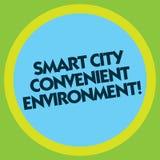 Pisać nutowemu pokazuje Smart City Dogodnym środowisku Biznesowa fotografia pokazuje Związanych technologicznych nowożytnych mias ilustracja wektor