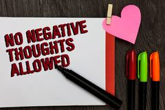 Pisać nutowemu seansowi Żadny Negatywnych myślach Pozwolić Biznesowa fotografia pokazuje Zawsze pozytyw motywował inspirowanych d zdjęcia stock